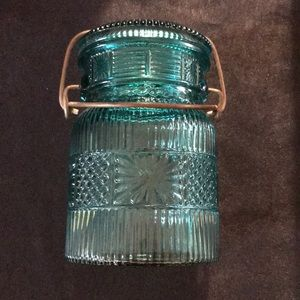 Vintage AVON Blue Glass Jar w/Glass Lid